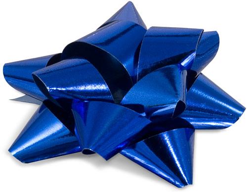 lazo de cinta metalizada brillante color azul lazos grandes